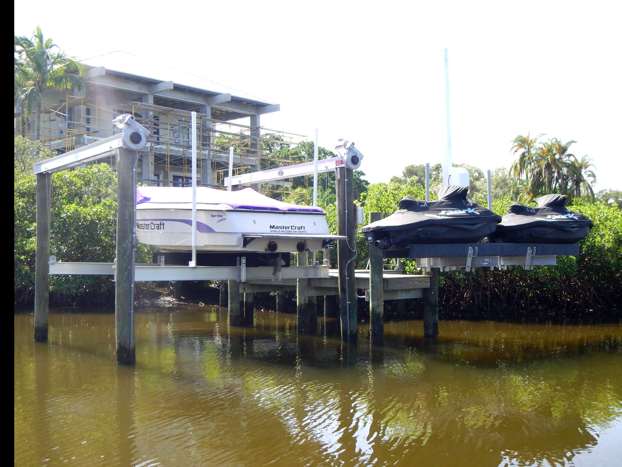 Dock, boatlift and personal watercraft lift