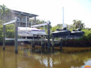 Dock with Boatlift, and Personal Watercraft Lift