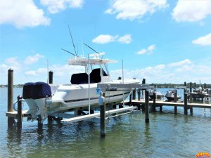 Dock with Deco boatlift and PWC lift