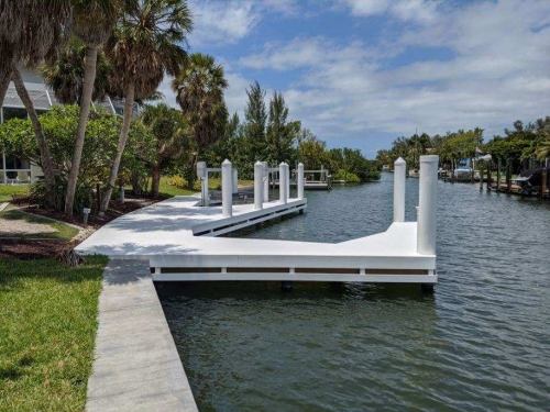 White WearDeck dock and boatlift